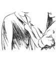 young man and woman in business clothes hand vector image
