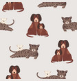 seamless pattern with cat and kitten dog and vector image