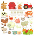 farm elements collection vector image