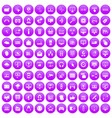 100 internet icons set purple vector image vector image