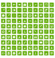 100 space icons set grunge green vector image vector image