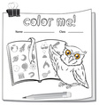 A worksheet with an owl and a book vector image vector image