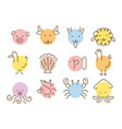 animals head simply shape and line drawing set vector image