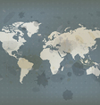 antique world map and ink splatter vector image vector image