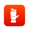 apple in hand icon digital red vector image