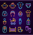 baby shower neon icons vector image