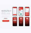 banking app ui ux kit for responsive mobile app vector image vector image