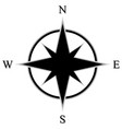 black flat compass rose with shadow with letters vector image
