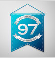 blue pennant with inscription ninety seven years vector image vector image