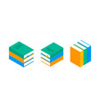 book isometric stack school vector image