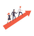 business people walking to goal along growth red vector image