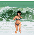 cartoon happy girl runs out of the sea vector image