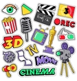 Cinema Film Television Patches Badges Stickers vector image vector image