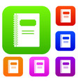closed spiral notebook set color collection vector image vector image