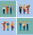 collection construction workers and differents vector image