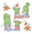 cute cartoon set catus mom and daughter vector image