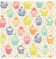 cute colorful seamless pattern with cupcakes vector image vector image