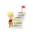cute little boy character climbing stairs made of vector image vector image