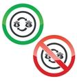 Dollar-euro trade permission signs vector image vector image