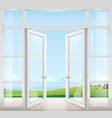 door with window to the terrace vector image vector image