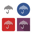 dotted icon umbrella in four variants with vector image vector image