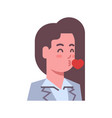 female blow kiss emotion icon isolated avatar vector image