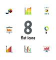 flat icon chart set of diagram statistic segment vector image vector image