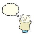 funny cartoon polar bear with thought bubble vector image