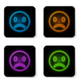 glowing neon sad smile icon isolated on white vector image
