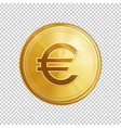golden euro coin symbol vector image