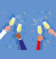 hands with cups toasting celebration party vector image vector image