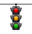 hanging traffic lights with all three colors on vector image vector image