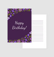 happy birthday purple card template with flowers vector image