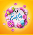 happy easter holiday design with painted egg vector image vector image