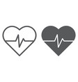 heart rate line and glyph icon medical and pulse vector image