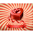 Heart-shaped gift box on retro background vector image vector image