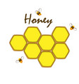 honey comb label template design emblem vector image vector image