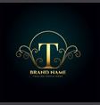 letter t logo monogram in golden luxury style vector image vector image