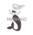 light haired mermaid graphic sketch art with text vector image