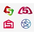 Number five logo template Abstract icon set vector image vector image