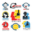 online support or custom service isolated icons vector image vector image
