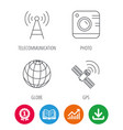 photo camera globe and gps satellite icons vector image