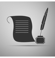 Quill Pen with inkwell and paper scroll icon vector image vector image