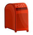 red street post box icon cartoon style vector image vector image