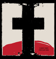 religious banner with black cross and red mountain vector image vector image