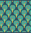 retro fruit trees pattern teal red blue yellow vector image