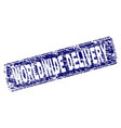 scratched worldwide delivery framed rounded vector image vector image