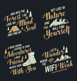 set adventures inspirational quote badges vector image vector image