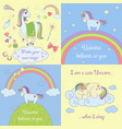 set beautiful unicorns vector image vector image