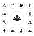set of 12 editable cooperation icons includes vector image vector image